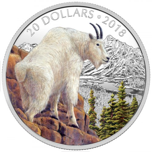 2018 Canada Majestic Wildlife - Mettlesome Mountain Goat 1 oz Silver Proof $20 Coin GEM Proof OGP