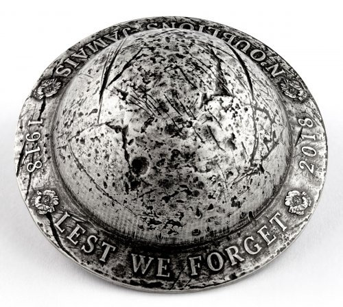 2018 Canada Lest We Forget WW1 Ultra High Relief Helmet Shaped 1.5 oz Silver Antiqued $25 Coin GEM BU OGP