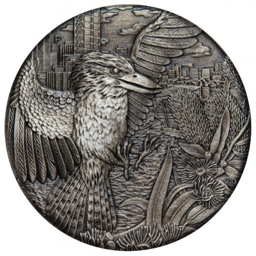 2018 Australia 2 oz High Relief Silver Kookaburra Antiqued $2 Coin GEM BU