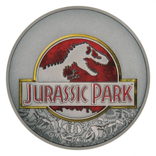 2018 Niue Jurassic Park 25th Anniversary 1 oz Silver Colorized Antiqued $2 Coin GEM BU OGP