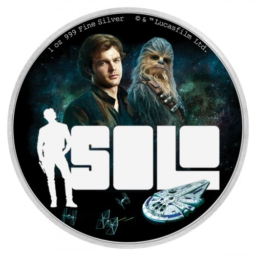 2018 Niue Han Solo: A Star Wars Story 1 oz Silver Colorized Proof $2 Coin GEM Proof OGP