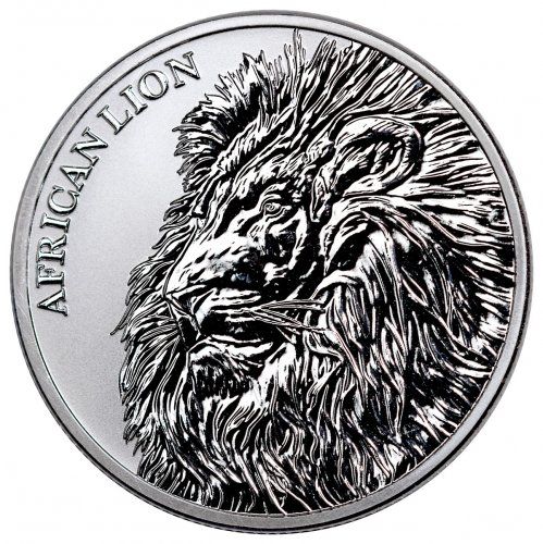 2018 Republic of Chad African Lion 1 oz Silver Fr5,000 Coin GEM BU