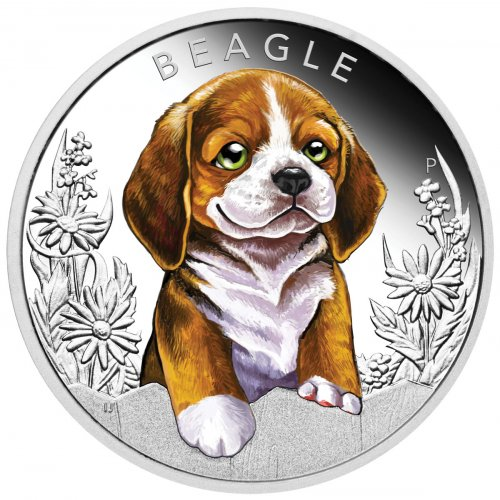 2018 Tuvalu Puppies - Beagle 1/2 oz Silver Colorized Proof $0.50 Coin GEM Proof