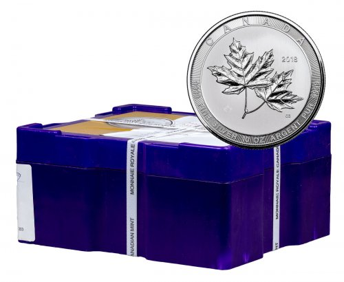 Box of 24 - 2018 Canada Magnificent Maple Leaves 10 oz Silver $50 Coins GEM BU