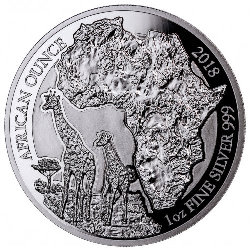 2018 Rwanda African Ounce - Giraffe 1 oz Silver Proof Fr.50 Coin GEM Proof Capsule with COA