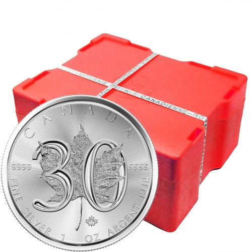 Monster Box of 500 - 2018 Canada 1 oz Silver Maple Leaf - 30th Anniversary $5 Coins