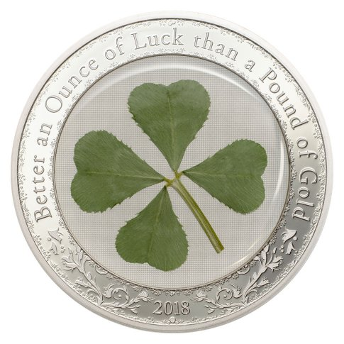 2018 Palau Four-Leaf Clover 1 oz Silver Enameled Proof $5 Coin GEM Proof Original Mint Capsule