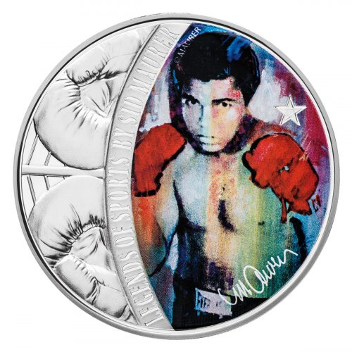 2018 Solomon Islands Legends of Sports - Muhammad Ali 1 oz Silver Colorized Proof $5 Coin GEM Proof OGP
