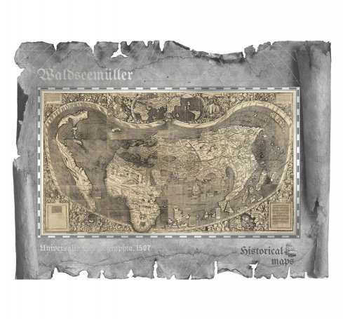 2018 Cook Islands Historical Maps - Universalis Cosmographia Foil Note 30 g Silver Prooflike $5 Coin GEM Prooflike OGP