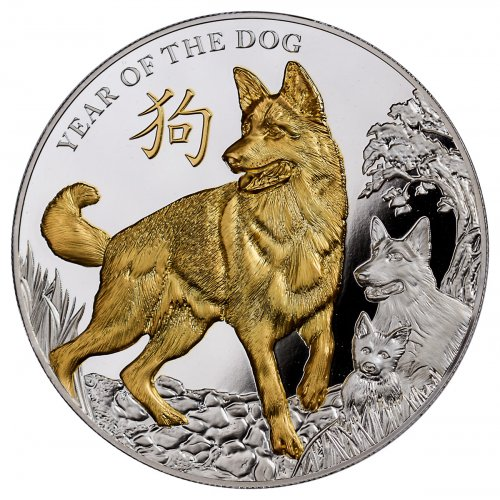 2018 Niue Year of the Dog 5 oz High Relief Silver Lunar Gilt Proof $8 Coin GEM Proof OGP