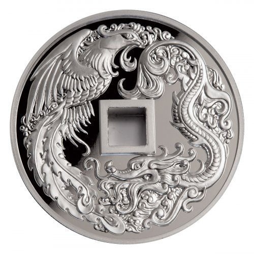 2018 China Dragon & Phoenix 2 oz Silver Proof Medal GEM Proof OGP