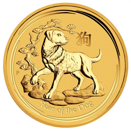 2018-P Australia Year of the Dog 1/20 oz Gold Lunar (Series 2) $5 Coin GEM BU