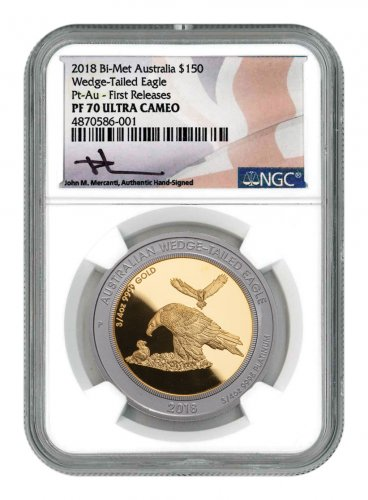 2018-P Australia 1.5 oz Gold Wedge-Tailed Eagle Proof $150 Coin Scarce and Unique Coin Division NGC PF70 UC FR Mercanti Signed Australia Flag Label