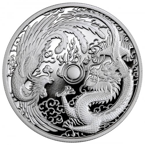 2018-P Australia 1 oz Silver Dragon & Phoenix Proof $1 Coin GEM Proof OGP
