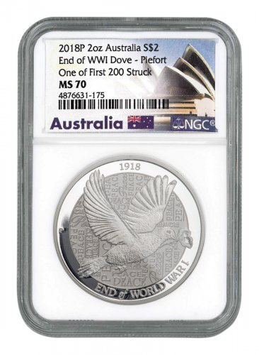 2018-P Australia 2 oz Silver Dove $2 Piedfort Coin NGC MS70 One of First 200 Struck