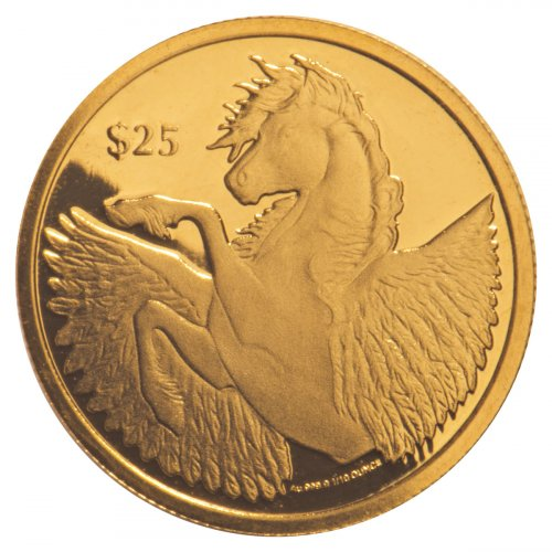 2018 British Virgin Islands 1/10 oz Gold Pegasus Prooflike $25 Coin GEM Prooflike
