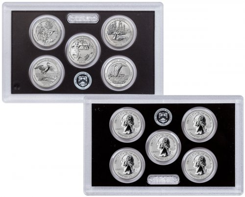 2018-S Silver 5-Coin Set Reverse Proof America the Beautiful Quarters From Reverse Silver Proof Set GEM Reverse Proof OGP