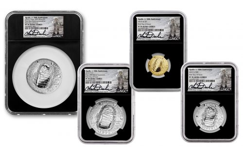 2019 Apollo 11 50th Anniversary 4-Piece Commemorative Proof Set with Space-Flown Alloy Scarce and Unique Coin Division NGC PF70 FDI in Deluxe Presentation Case Charlie Duke Signed label