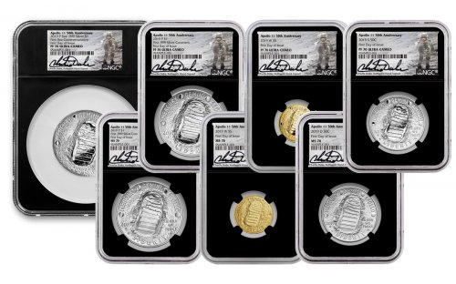 2019 Apollo 11 50th Anniversary 7-Piece Commemorative Set with Space-Flown Alloy Scarce and Unique Coin Division NGC MS70 + PF70 FDI in Deluxe Presentation Case Charlie Duke Signed label