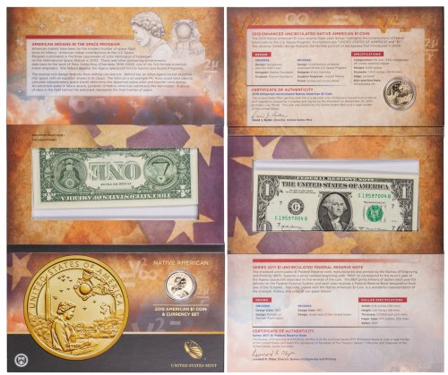2019 Native American Enhanced Uncirculated Coin Commemorative Dollar Coin From 2019 Native American Coin and Currency Set GEM BU