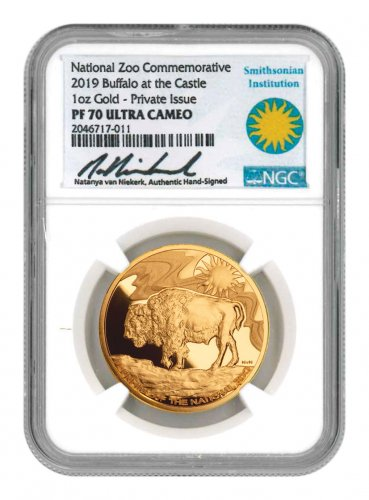 2019 Smithsonian Zoo Buffalo 1 oz Gold Proof Medal Scarce and Unique Coin Division NGC PF70 UC Natanya Van Niekerk Signed Label