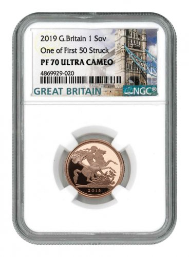 2019 Great Britain Gold Sovereign Proof £1 Coin Scarce and Unique Coin Division NGC PF70 UC FS