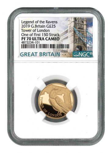 2019 Great Britain Tower of London - Raven 1/4 oz Gold Proof £25 Coin Scarce and Unique Coin Division NGC PF70 UC FS
