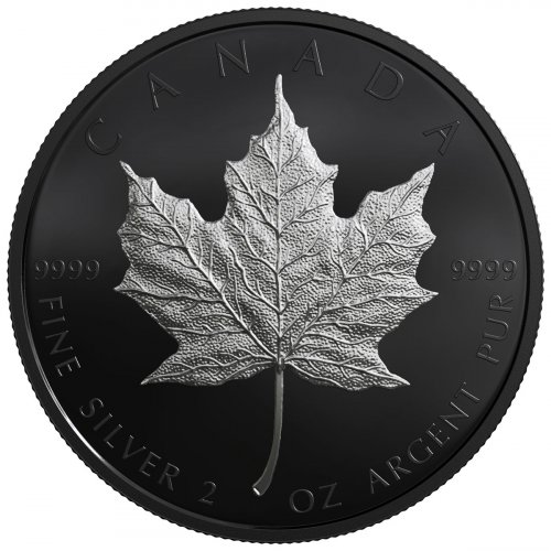 2019 Canada 2 Oz Silver Maple Leaf Black Proof 10 Coin