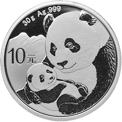 2019 China 30 g Silver Panda ¥10 Coin GEM BU