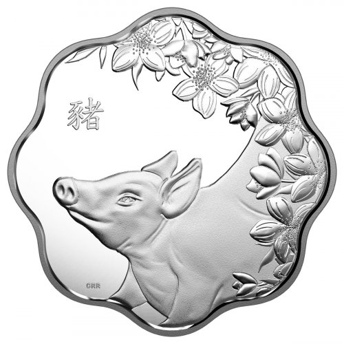2019 Canada Year of the Pig Silver Lunar Proof $15 Lotus Shaped Coin GEM Proof OGP