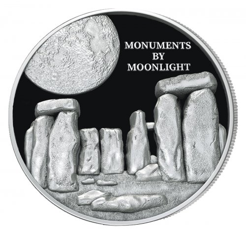 2019 Fiji Stonehenge Monuments by Moonlight Ultra High Relief 1 oz Silver Proof $1 Coin GEM Proof OGP