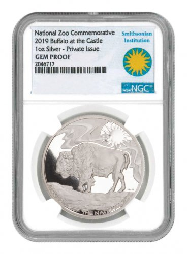 2019 Smithsonian Zoo Buffalo 1 oz Silver Medal NGC GEM Proof