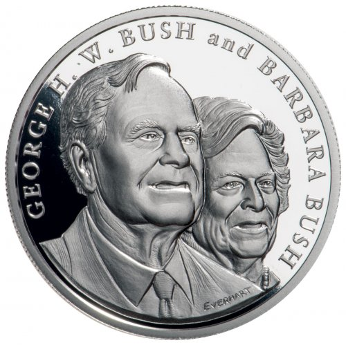 1989-1993 George & Barbara Bush Commemorative 1 oz Silver Proof Medal GEM Proof