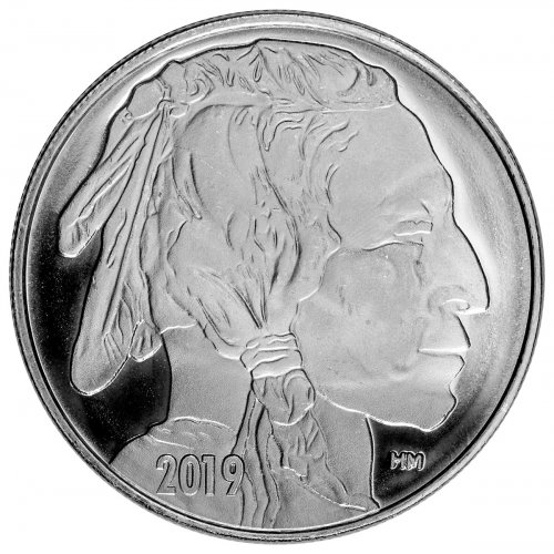2019 Highland Mint Buffalo Nickel Design Silver Round GEM BU