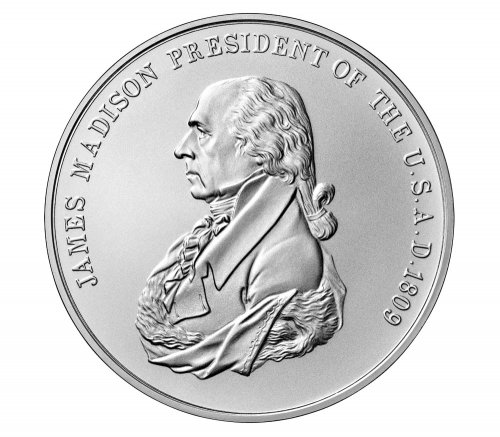 1809-2019 United States Presidential Medal James Madison 1 oz Silver Matte Medal GEM BU