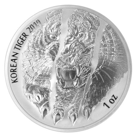 2019 South Korea 1 oz Silver Tiger Medal GEM BU