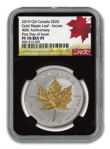2019 Canada 1 oz Silver Maple Leaf - Incuse Gilt Reverse Proof $20 Coin Scarce and Unique Coin Division NGC PF70 FDI Black Core Holder 40th Anniversary Gold Maple Leaf Label