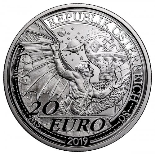 2019 Austria Reaching for the Sky - Dream of Flight Silver Proof €20 Coin GEM Proof UC OGP