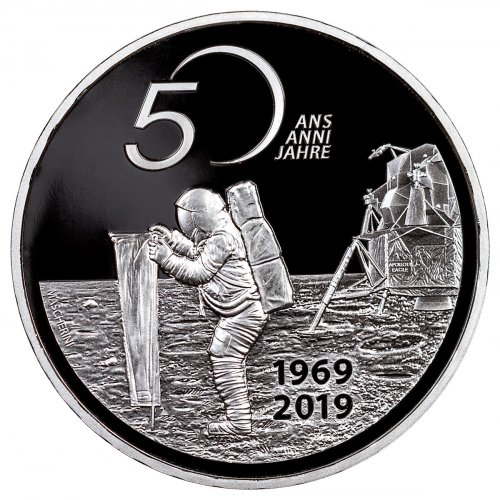 2019 Switzerland 50th Anniversary of Apollo 11 - Solar Sail Silver Proof Fr.20 Coin GEM Proof OGP
