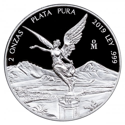 2019-Mo Mexico 2 oz Silver Libertad Proof 2 Onza Coin GEM Proof