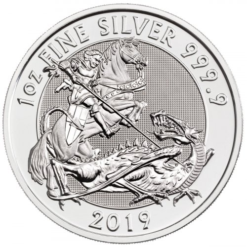2019 Great Britain 1 oz Silver Valiant - St. George £2 Coin GEM BU