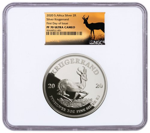 2020 South Africa 2 oz Silver Krugerrand Proof R2 Coin NGC PF70 UC FDI Springbok Label