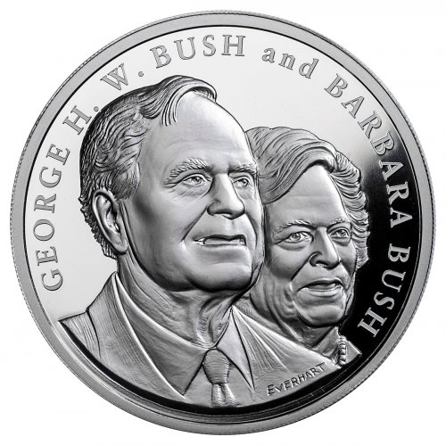 1989-1993 George & Barbara Bush Commemorative 5 oz Silver Proof Medal GEM Proof