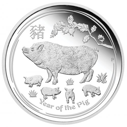 2019-P Australia Year of the Pig 1 oz Silver Lunar (Series 2) Proof $1 Coin GEM Proof