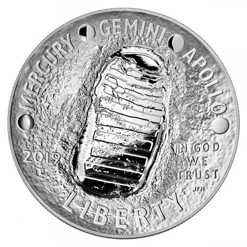 2019 Apollo 11 50th Anniversary Commemorative 5 oz. Silver Dollar Proof Coin GEM Proof OGP
