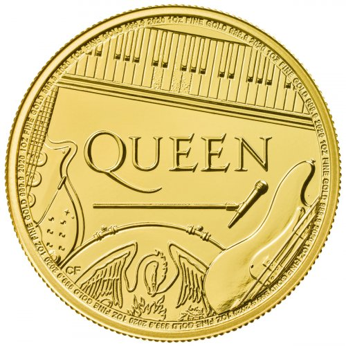 2020 Great Britain Legends of British Music Queen 1 oz Gold £100 Coin GEM BU