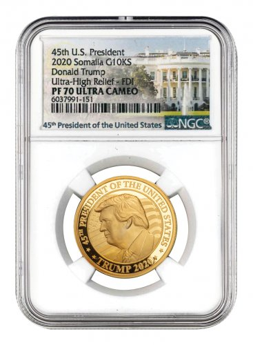 2020 Donald Trump Ultra High Relief 1 oz Gold Proof Coin Scarce and Unique Coin Division NGC PF70 UC FDI White House Label