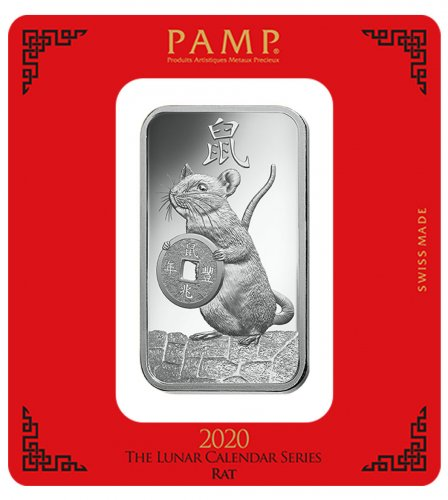 2020 PAMP Lunar Year of the Rat 100g Silver Bar In Assay