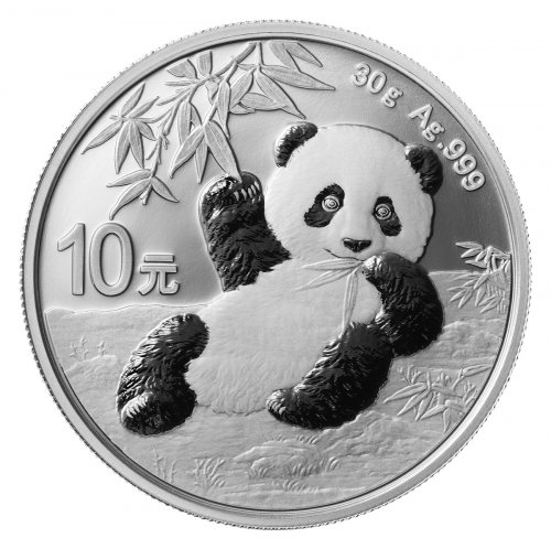 2020 China 30 g Silver Panda ¥10 Coin GEM BU