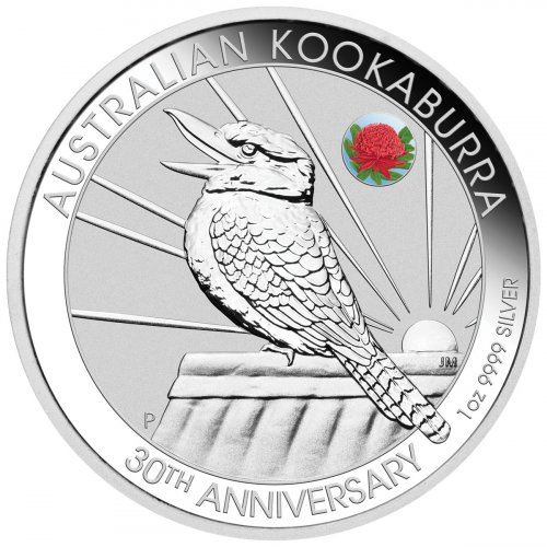 2020-P Australia 1 oz Silver Kookaburra - 30th Anniversary Sydney ANDA Money Expo w/ Waratah Privy Mark $1 Coin GEM BU with Card
